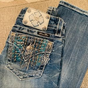Miss Me Bootcut Turquoise Stitch Aztec Jeans